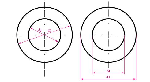 Acotación de diámetros, medidas