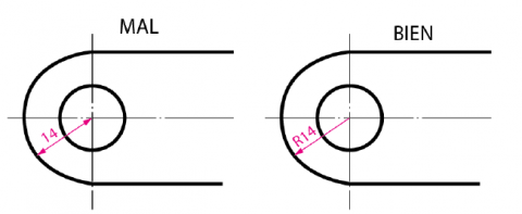 Acotación de radios y diámetros