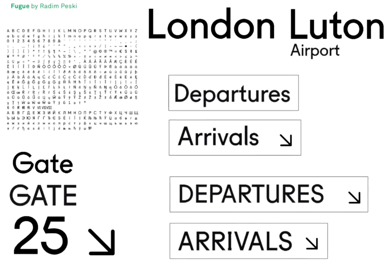 London Luton, tipografía y señalética para el aeropuerto