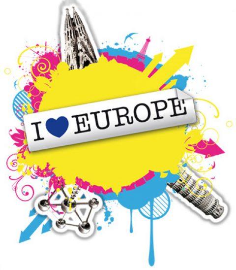 I love Europa, diseño de carteles.