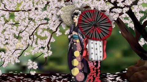Geishas y el cerezo | Geishas and the cherry tree