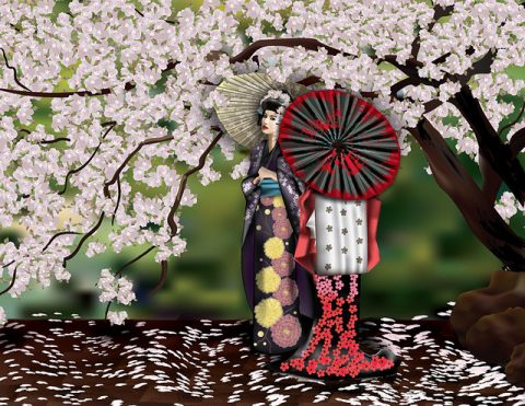 Geishas y el cerezo | Geishas and the cherry tree