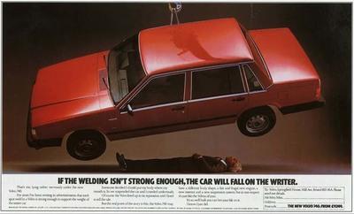 """Volvo 1983: """"Si la soldadura no es suficientemente fuerte, el coche caerá sobre el escritor"""""""
