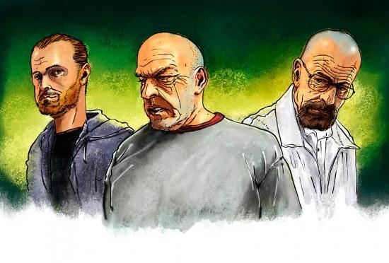 Hank Schrader,  Jesse Pinkman, Walter White.