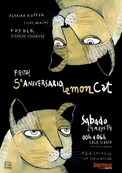 Cartel párr La Fiesta 5 º Aniversario de LemonCat.