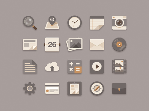 Sombras paralelas: Flat Icons Brownie Theme – Sunbzy