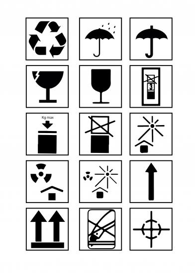 Colección de iconos transporte y manipulación.