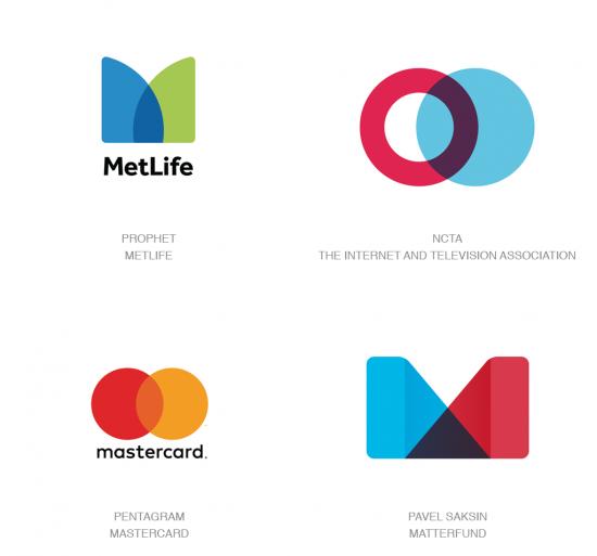 Tendencias en logomarcas, Superposiciones simples