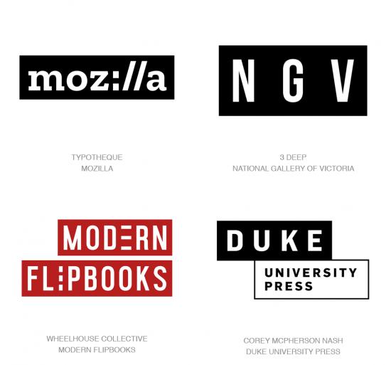 Tendencias en logomarcas, Cajas de texto