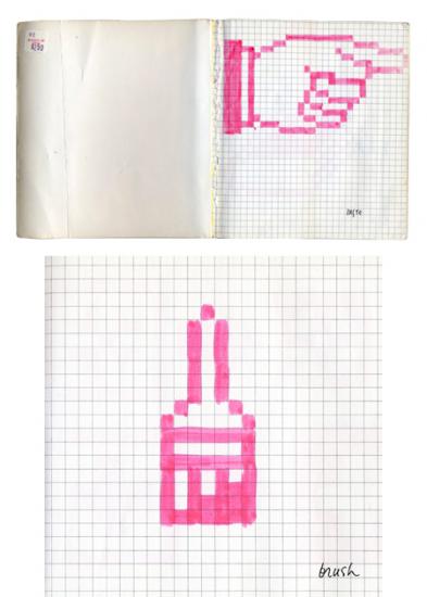 Primeros bocetos de los iconos de Susan Kare