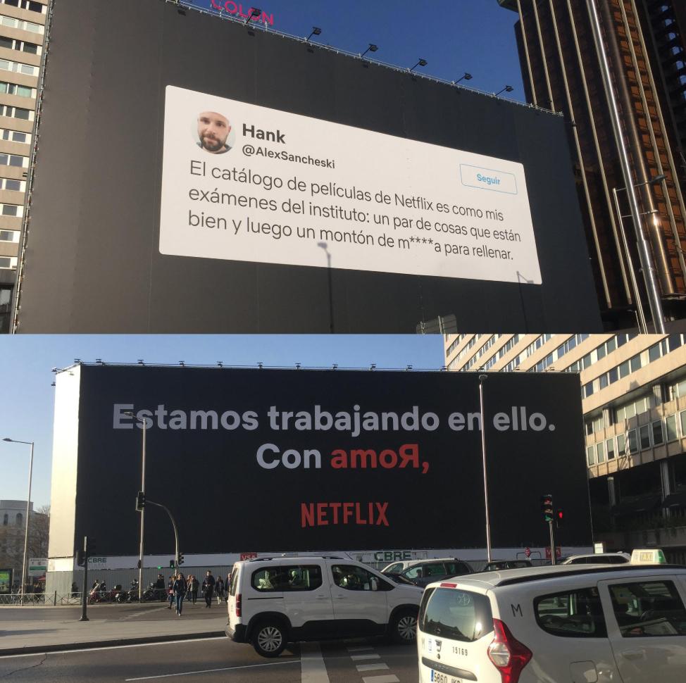 Campaña en Netflix contestando un tweet