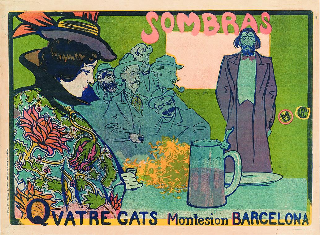 Sombras. Quatres Gats. Miquel Utrillo participó en la ejecución del cartel final. Se pueden apreciar los mongramas de Ramón Casas y Miquel Utrillo