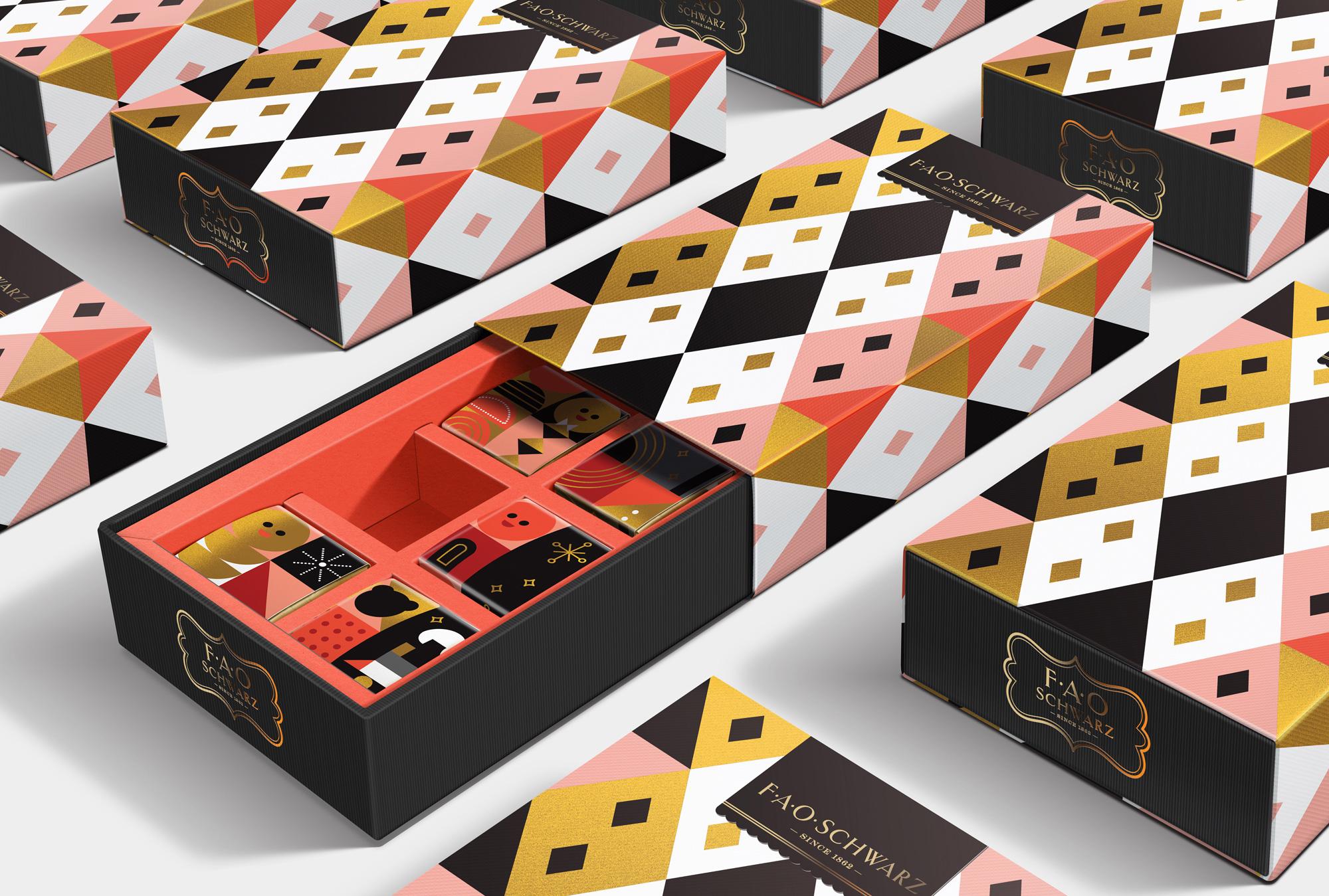 Packaging de la nueva identidad Fao Schwarz