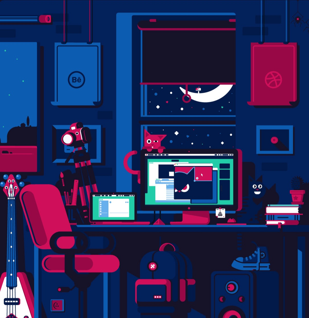 "Ilustración ""Night Work de Ilda Alexandrov"