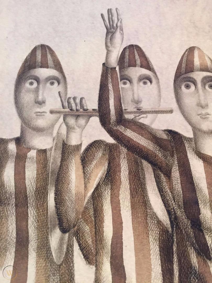 """Josep Pla Narbona, """"Tres bufones"""" Acuarela original, Lápiz, Tinta sobre papel grueso lápiz firmado y fechado en 1966"""