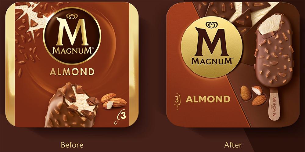 Antes y después del packaging del Magnum almendrado